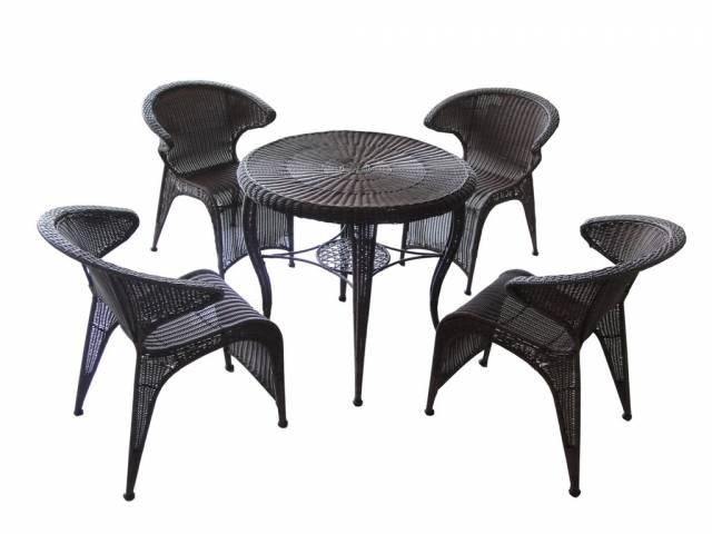 Záhradný nábytok AMADEUS, 5 dielny, kov + polyratan, tmavohnedý