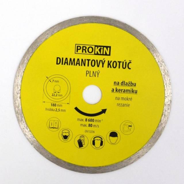 Kotúč diamantový plný o180x22,23 mm PROKIN