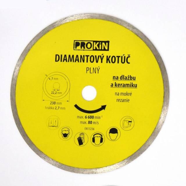 Kotúč diamantový plný o230x22,23 mm PROKIN