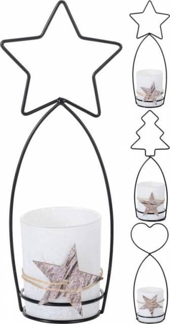 Svietnik na čajovú sviečku, kov, mix dekorácia