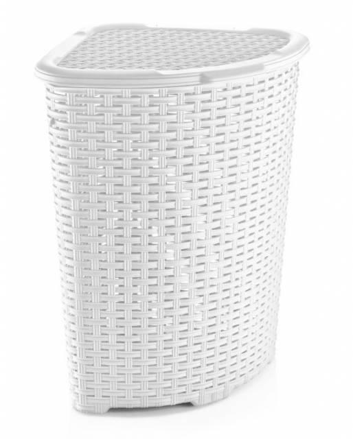 Kôš na špinavé prádlo biely UH 40x40x58 cm 52 l rohový imitácia Ratan