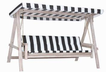 Kinekus Hojdačka drevená KIARA, šedá, vyklápateľná s poduškou 31852