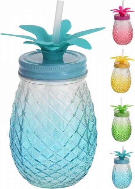 Pohár 400ml so slamkou, v tvare ananásu, mix farieb