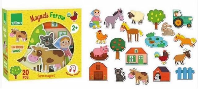 Magnetky drevené detské FARMA 20ks