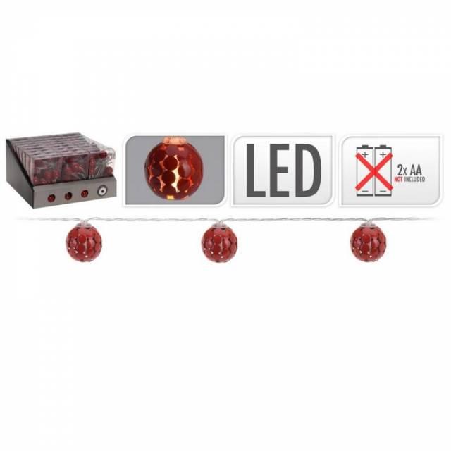 Svetlo vianočné LED reťaz s dekoráciami guličky 25mm červené