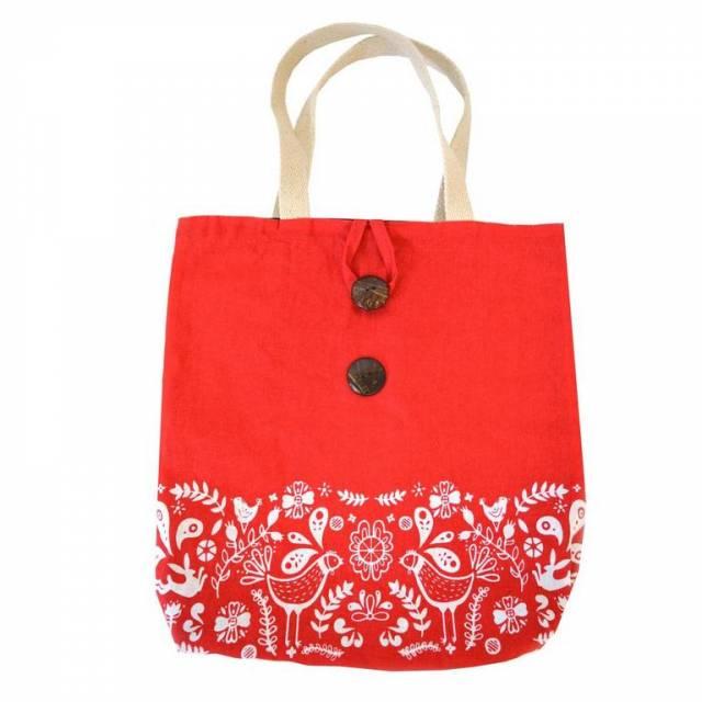 Bavlnená nákupná taška folk 40 x 45 cm