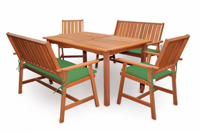 Záhradný nábytok IVETA, drevo, 5-dielny s poduškami
