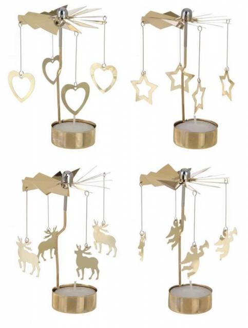 Svietnik vianočný na čajovú sviečku so zvonkohrou, zlatý