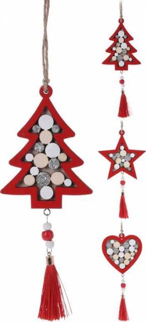 Ozdoba vianočná závesná 25cm drevená, červená mix