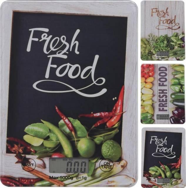 Váha kuchynská digitálna do 5kg dekor zelenina