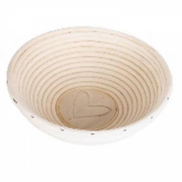 Ratanová ošatka s dreveným dnom, priemer 19 cm, dekor SRDCE