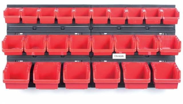Zásobník sada 24ks+ plastový stojan 2ks, čierno/červená kombinácia