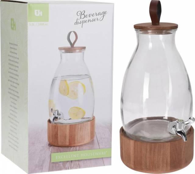 Nádoba na vodu 5,5L s kohútikom, sklo s dreveným vrchnákom a podstavcom