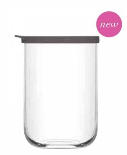 Dóza na potraviny 1L s vrchnákom, vysoká, čire sklo