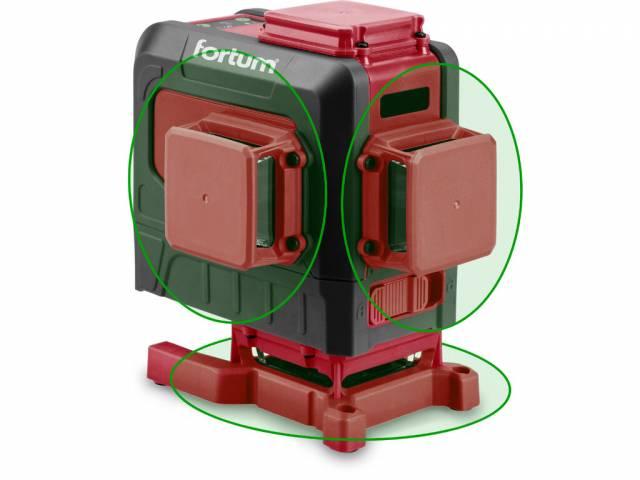 FORTUM Vodováha laserová krížová samonivelačná, 3D (3x360°), zelený lúč, Li-ion akumulátor, USB nabíjanie