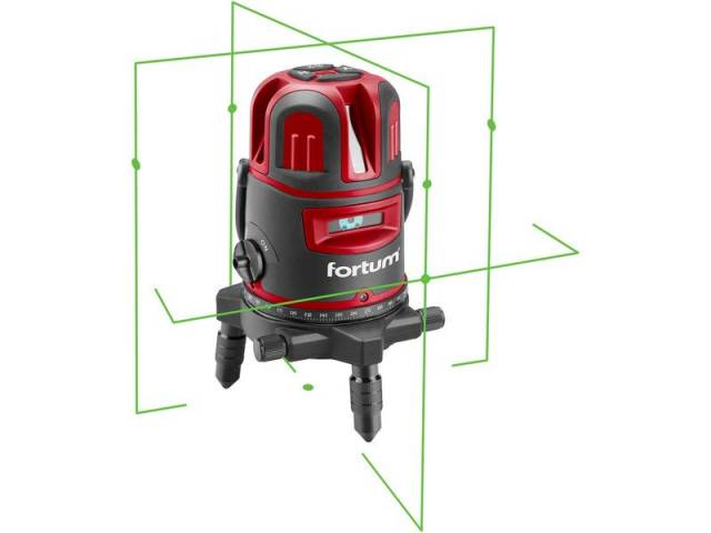 FORTUM Vodováha laserová krížová samonivelačná, 1H-4V-6B, zelený lúč, Li-ion akumulátor, USB nabíjanie