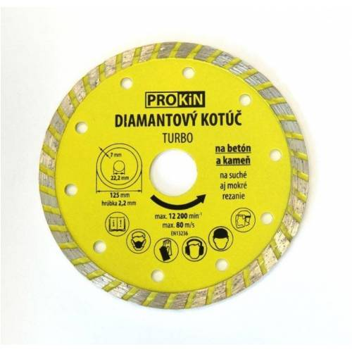 Kotúč diamant 115x22,23mm TURBO PROKIN